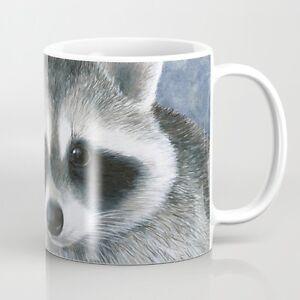 Coffee-Mug-Cup-11oz-or-15oz-Made-in-USA-Raccoon-20-purple-flower-art-by-L-Dumas