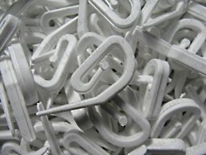 Curtain-Hooks-1000-For-Curtain-Rings-amp-Header-Tape-White-Plastic-Nylon-NEW