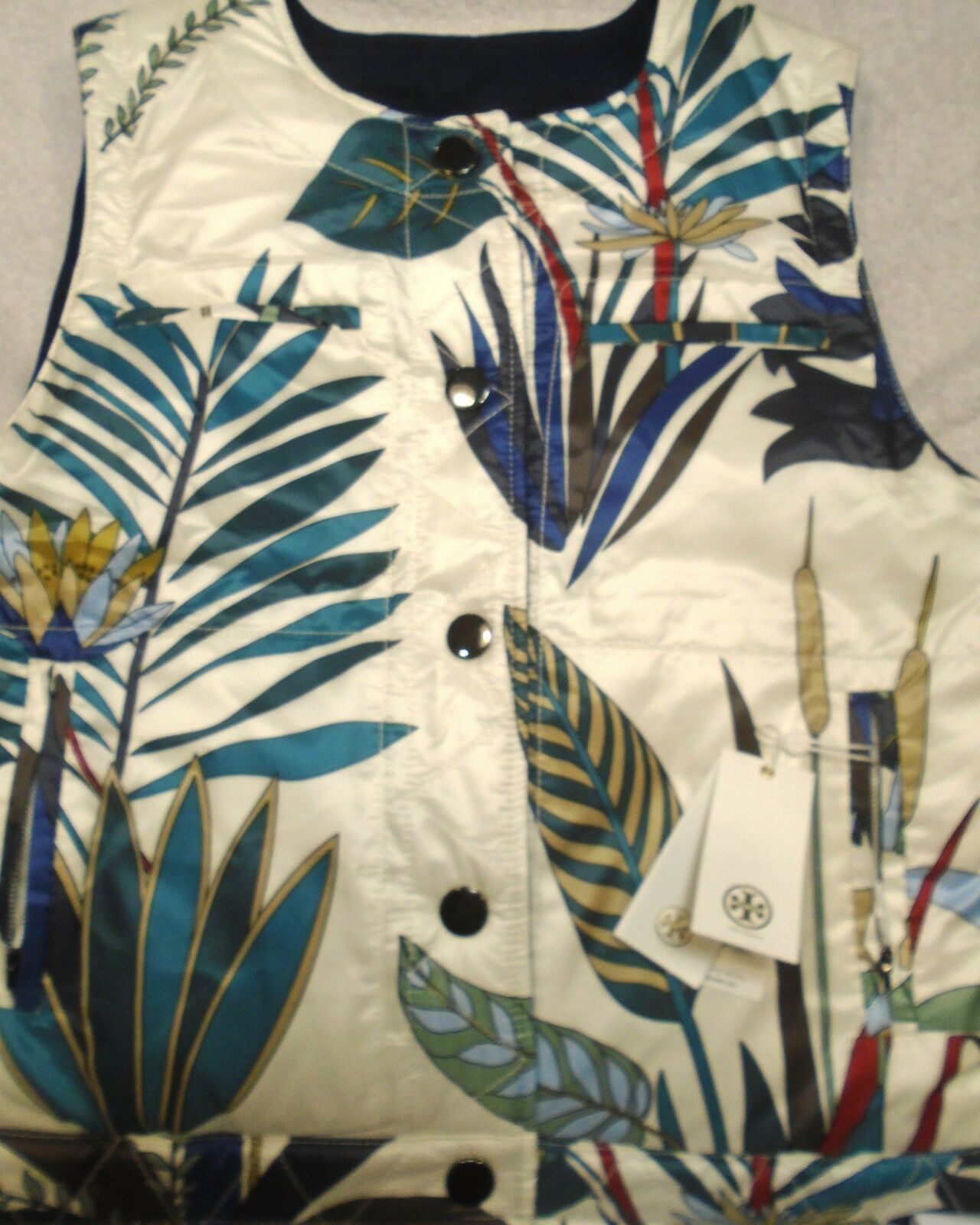 f9a2a323d Floral Ivory Reversible Burch Tory 6 395 size NWT Vest Fill Down ...
