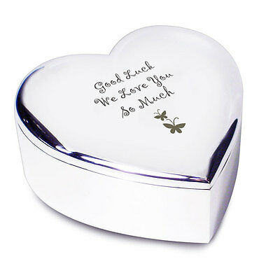 Personalised Butterfly Motif Heart Trinket Box - Engraved Free - Christmas, Her