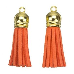 Suede Tassel Charms with Bronze Cap for Jewellery Making Brown 36mm H20//4