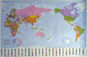World map poster 61x91cm flag country info new australia center image is loading world map poster 61x91cm flag country info new gumiabroncs Choice Image