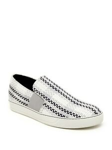 Lanvin Woven Leather Slip On Sneakers in white  sz 8-9