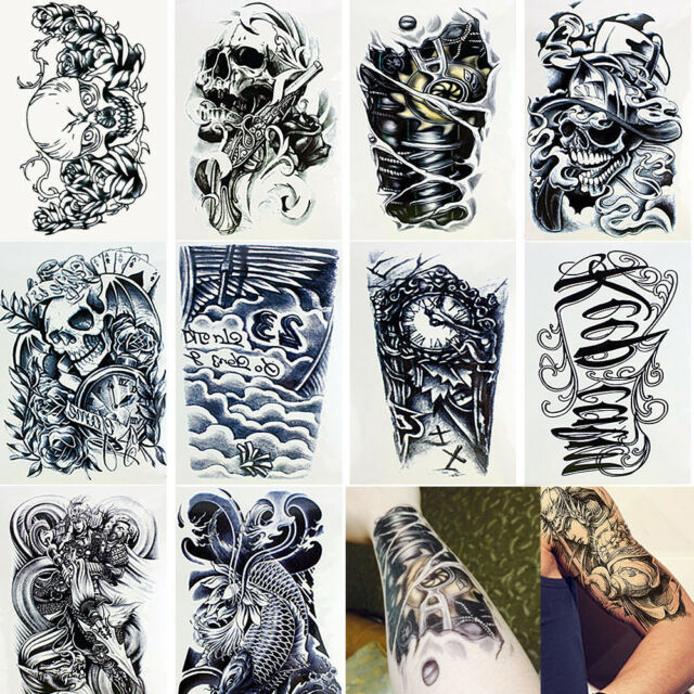 9ba41865b 10 Sheets Temporary Tattoos Body Arm Tattoo Sticker Long Sleeve Fake  Waterproof for sale online | eBay