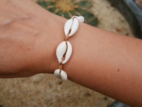 Bracelet Chaîne de cheville Africaine tressée réglable coquillages Cauris