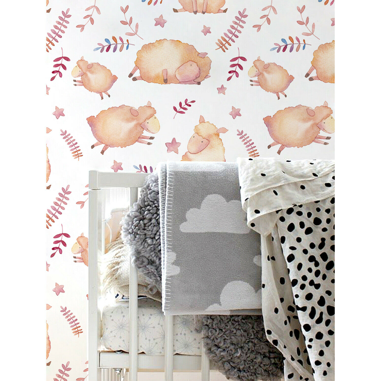 Removable Wallpaper adhesive Cute sheeps Watercolor wall murals for nurseries