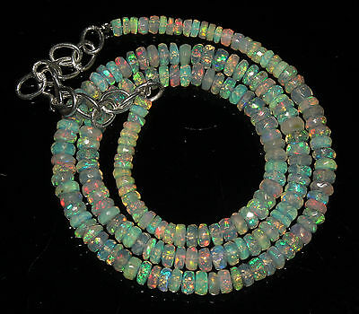 "48 Crts 3 to 5 mm 16""Faceted Beads necklace Ethiopian Welo Fire Opal 63864"