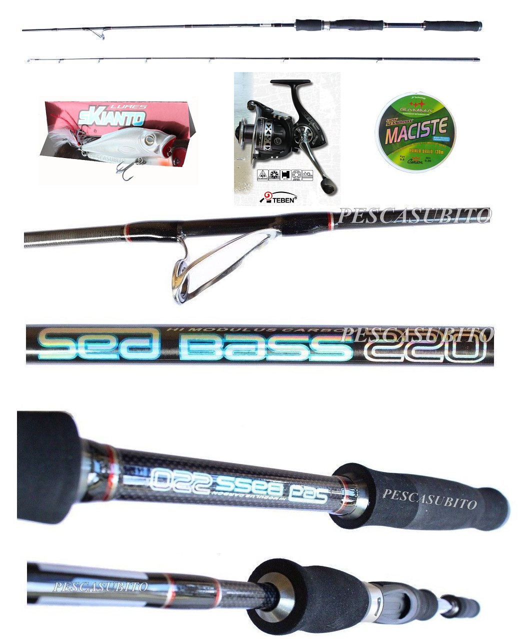 Kit Pesca Spinning Pesce Serra Canna Sea Bass  Mulinello  Treccia  Popper