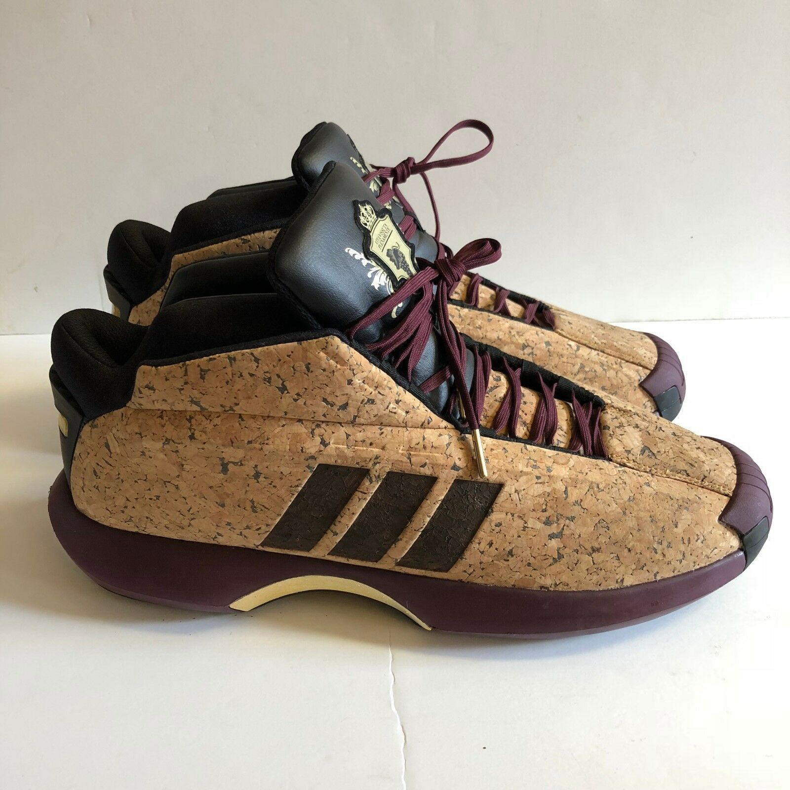 Adidas Crazy 1 Basketball Shoes Maroon Cork Wine Vino Kobe Bryant Size 17 AQ8551