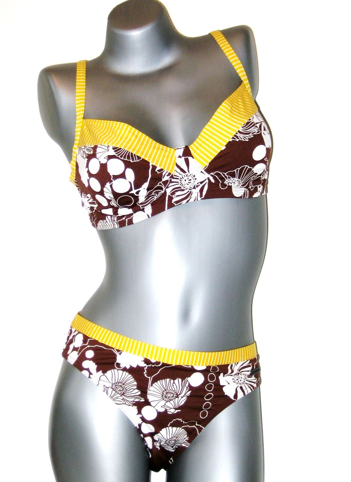 Triumph Bikini Set  -  85 C + 44 Tai  -  brown yellow white  col M003 T5  NEU