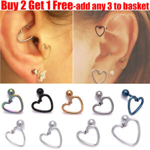 Details About Surgical Steel Hollow Heart Helix Daith Stud Tragus Stud Cartilage Stud Earring