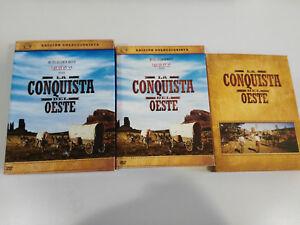 LA-CONQUISTA-DEL-OESTE-EDICION-COLECCIONISTA-3-X-DVD-LIBRO-POSTALES-ENGLISH