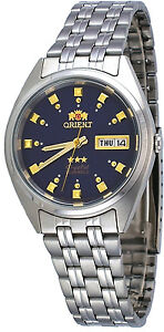 Orient-FAB00009D-Men-039-s-3-Star-Stainless-Steel-Dark-Blue-Dial-Automatic-Watch