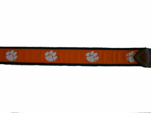 University Clemson Tigers Mens Leather Canvas Embroidered Ribbon Belt pick size