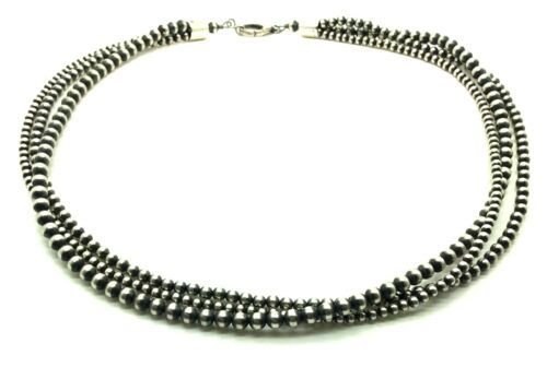 """24/"""" Beautiful Navajo Pearls Sterling Silver 3-Strand Beads Necklace"""
