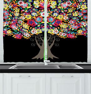 Details about Creative Colorful Kitchen Curtains 2 Panel Set Window Drapes  55\