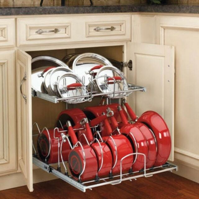 Pots And Pans Rack Kitchen Cabinet Organizer Cookware 2 Tier Pull Out Holder For Sale Online Ebay