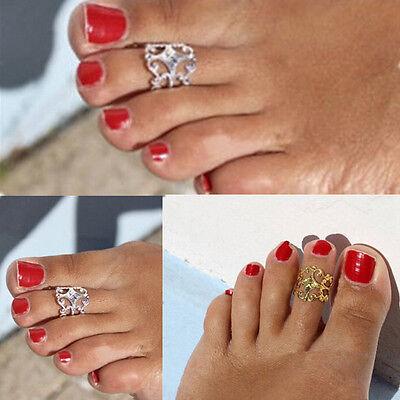 Women Lady Fashion Gold Silver Metal Toe Ring Foot Beach Jewelry Adjustable SSHU