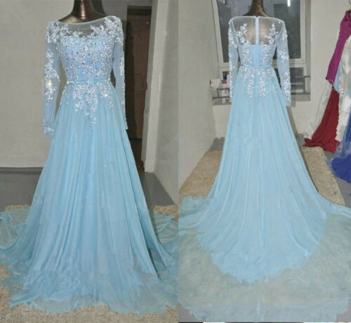 Formal Occason Evening Prom Dress with Long Sleeves Elsa Dress