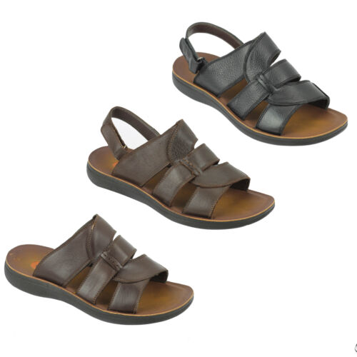 Mens Big Size Leather Strap back Sandals Open Toe Summer Slippers in Black Brown