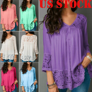 Plus-Size-Womens-Boho-Floral-Long-Sleeve-Blouse-Baggy-Tops-Tunic-V-Neck-T-Shirts