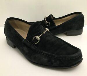 Authentic GUCCI 1953 BRASS HORSEBIT LOAFERS BLACK SUEDE PREPPY DRESS SHOES 10.5