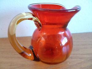glass blenko pitcher amberina yellow pontil rough viking