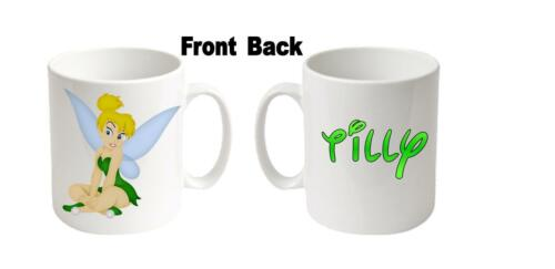 """Any name message age etc Personalised  Printed /""""TINKERBELL/""""  Boxed White Mugs"""