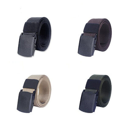Mens Canvas Fabric Webbing Waist Belt Adjustable Black Buckle Sports Army Style
