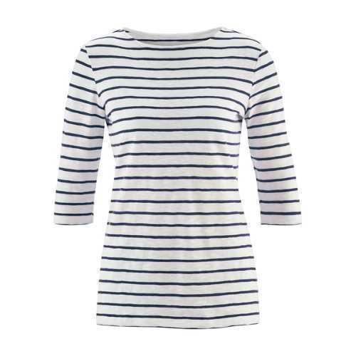 LIVING CRAFTS Shirt 3//4-Ärmel Streifen Weiß Blau Baumwolle GOTS Bio Fair Vegan