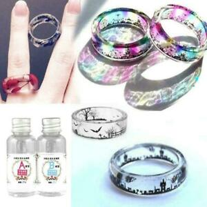 AB Glue Crystal Clear Epoxy Resin Set For Jewelry Craft Making DIY Art Tool M5G5