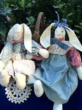 Antique PRIMITIVE Raggedy Ann doll RABBIT BUNNY Girl Bunny SET of Quilt HEIRLOOM