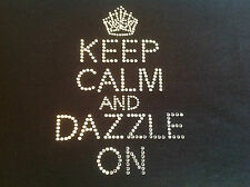 Mantener la calma y Dazzle sobre Rhinestone transferencia Plata 12,5 mm Hot Fix Post Gratis Reino Unido
