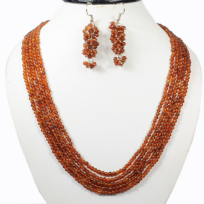 5 Strands 459.30 Carats Natural Hessonite Garnet Round Cab Beaded Jewelry Set