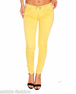 Women-039-s-Jeans-Designer-Trousers-Straight-Cut-Top-Clubwear-Yellow-Slim-Fit