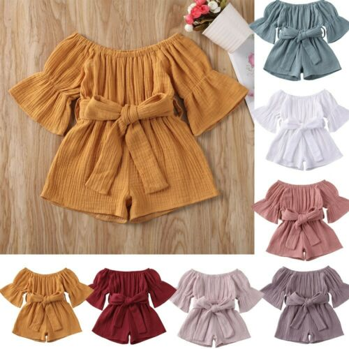 Summer Toddler Baby Kids Girls Off-Shoulder Ruffle Bow Romper Jumpsuit Outfits