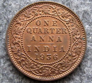 Old British India Coin 1924 One Quarter Anna Circulated