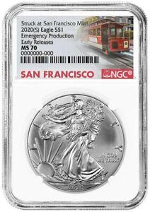 s Emergency Production 1oz Silver Eagle NGC MS70 ER Blue Label 2020