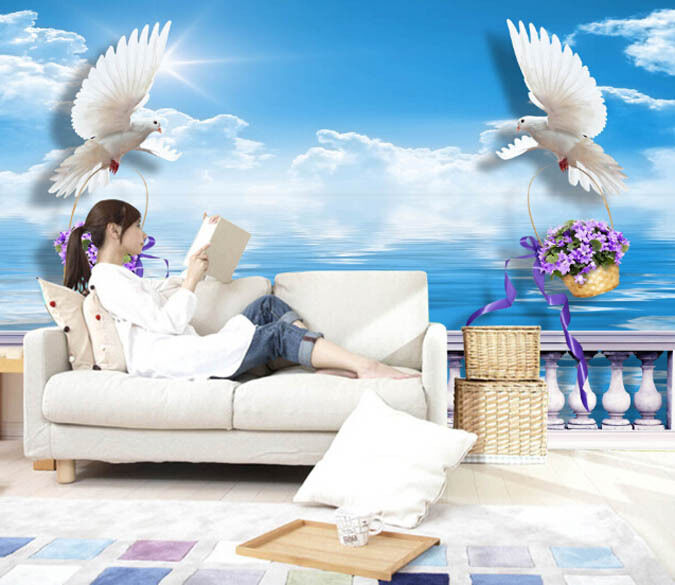 3D White Pigeons Flower Baskets Wall Paper Wall Print Decal Wall AJ WALLPAPER CA