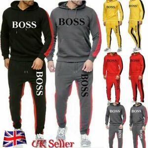 Mens Sports Tracksuit Set Hoodie Top Bottoms Joggers Casual Suit Slim Fit Full