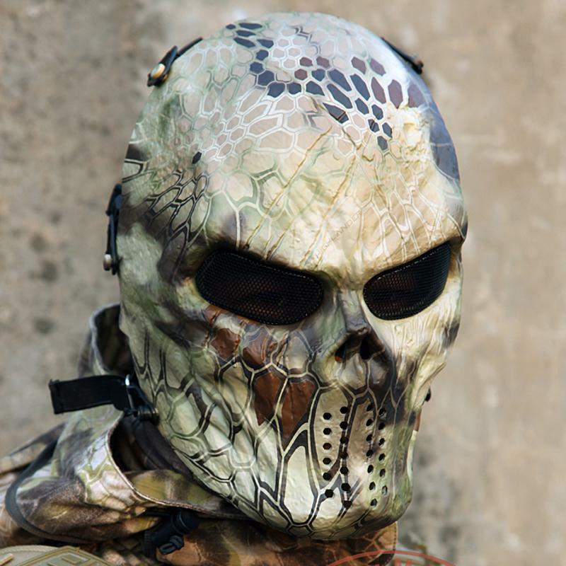 Paintball Full Face Predection Mask Skull Airsoft Outdoor Game Tactical Eye Mesh