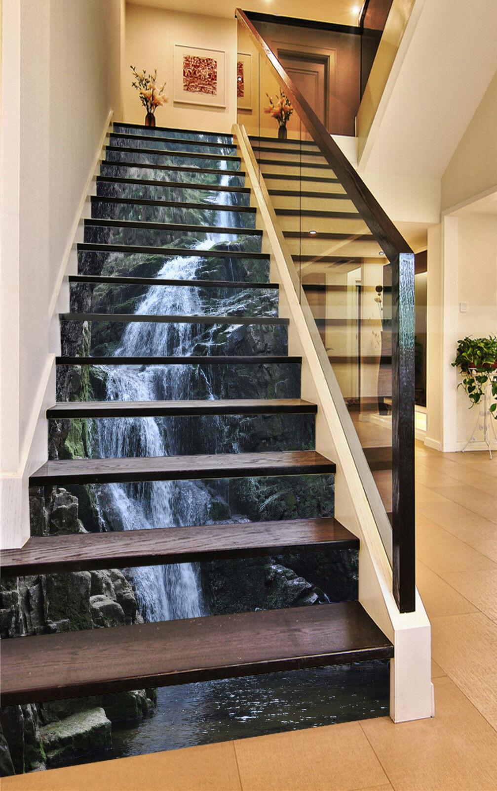 3D Wasserfall 335 Stair Risers Dekoration Fototapete Vinyl Aufkleber Tapete DE