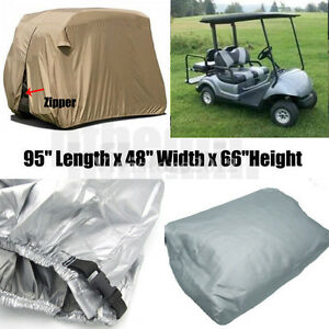 "95"" 2 Passenger Golf Cart Cover Waterproof Vents Zippered For EZ Go Club Yamaha 732140137826"