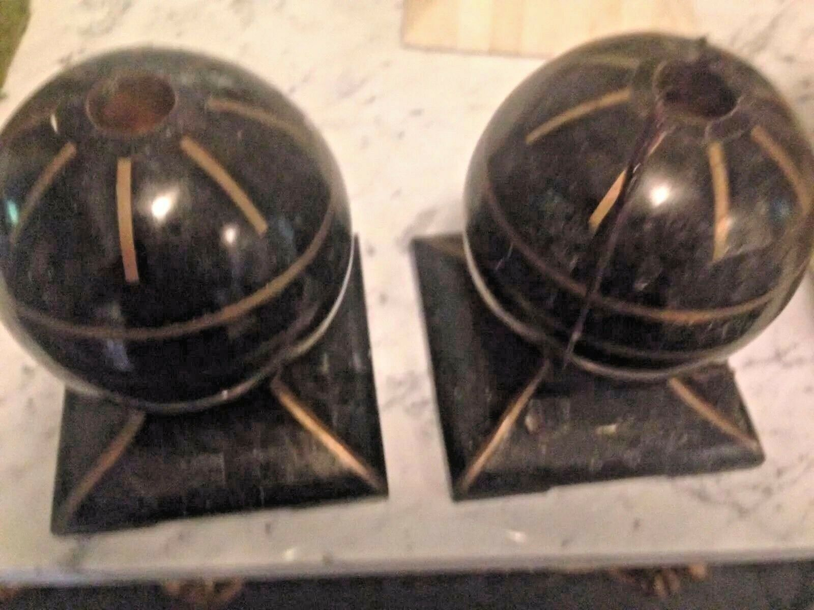 Maitland Smith Candelabros Negro oro Chapado en estilo artistico Piedra Latón Incrustación Vintge Venta