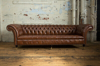Handmade 4 Seater Mottled Brown Leather Chesterfield Sofa Settee Ebay
