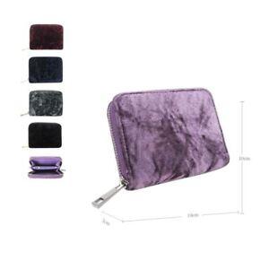 Women-039-s-Designer-Style-Velvet-Small-Zip-Purse-Zip-Close-Wallet-Girls-Purse
