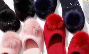 NEW Victoria Secret Pom Slipper Fur Pink Blue Lilac Red Black Gray S M L Gift