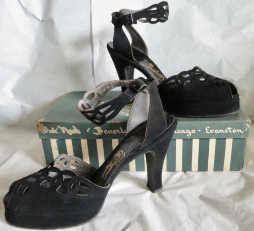 Vintage 1940s Shoes Lady's Platforms Peek-a-Boo
