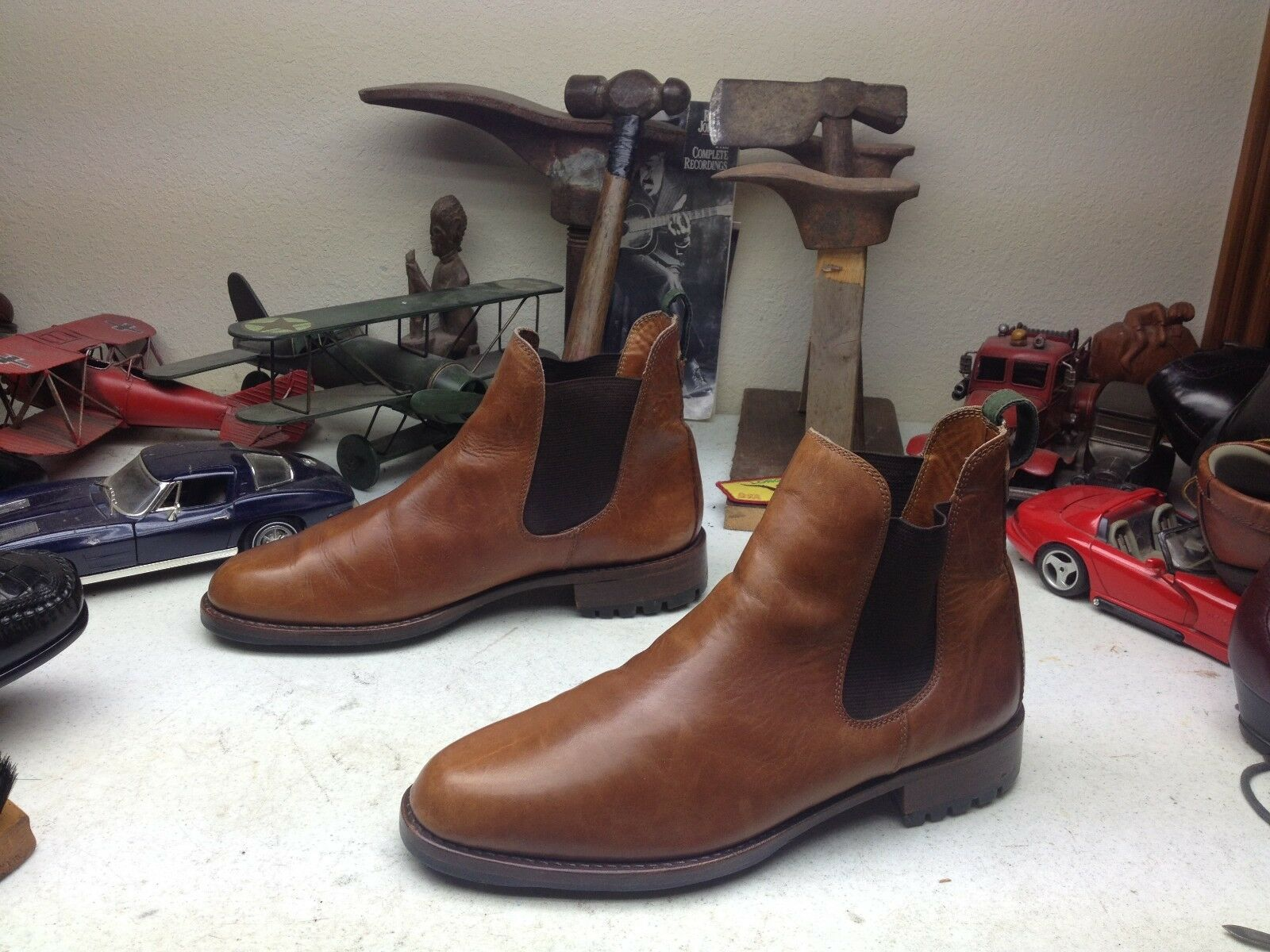 COLE COLE COLE HAAN RUSTIC BROWN LEATHER ANKLE BEATLE BOOTS 10.5D 8384e7