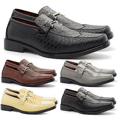 Intellektuell New Mens Italian Style Faux Snakeskin Shoes Formal Wedding Slip On Buckle 6-11